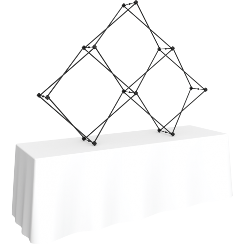 Xclaim 8ft Tabletop 3 Quad Pyramid Fabric Popup Display Kit 01